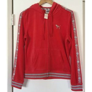 VS PINK Red Silver Sequin Zip Up Hooded Sweater